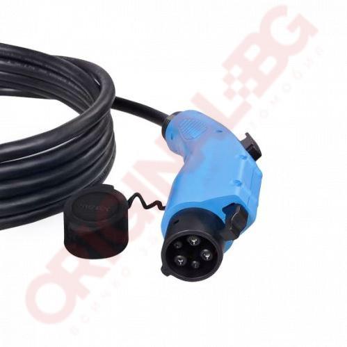 Кабел за зареждане Тип 2 към Тип 1 | 16 А 3,7 kW | черен | 5м