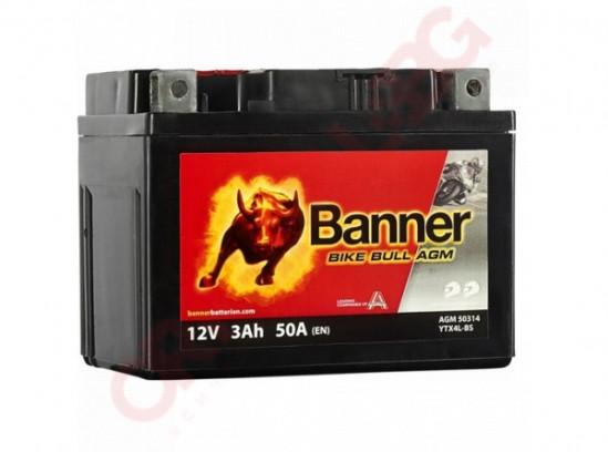 BANNER BIKE BULL AGM YTX4L-BS 3AH 50A R+